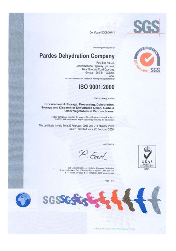 HACCP, ISO 9001:2000,OU Kosher ,Sortex Certitied Dehdyrated
